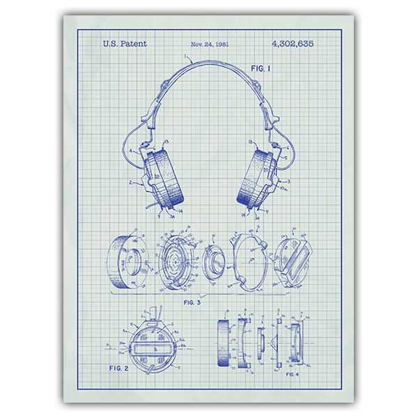 Wall Stickers: Headphones white background 0