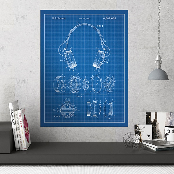 Wall Stickers: Headphones blue background