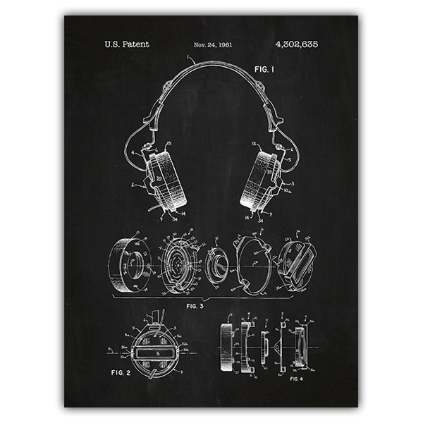 Wall Stickers: Headphones chalkboard