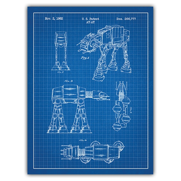Wall Stickers: AT-AT blue patent