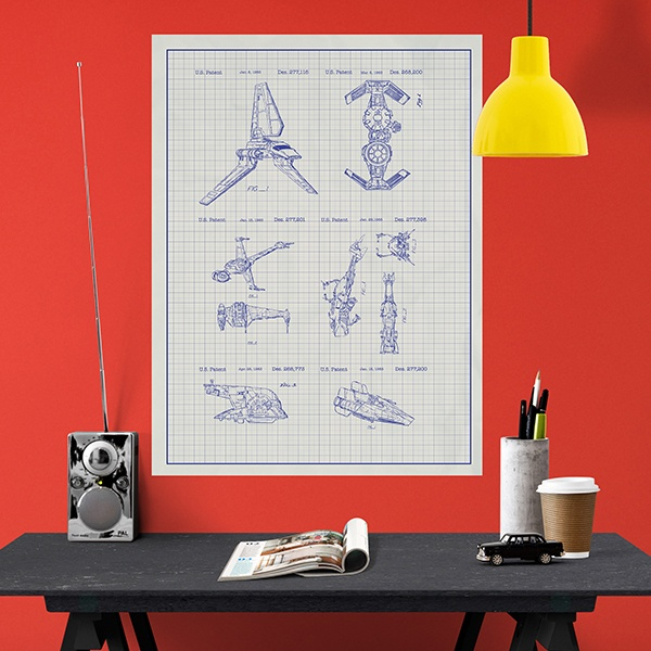 Wall Stickers: Star Wars ships white patent