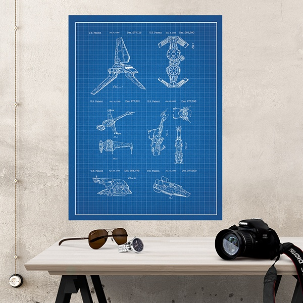 Wall Stickers: Star Wars ships blue patent