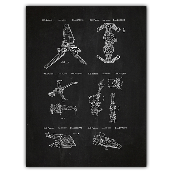 Wall Stickers: Star Wars ships board patent