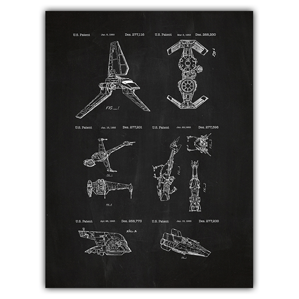 Wall Stickers: Star Wars ships board patent 0