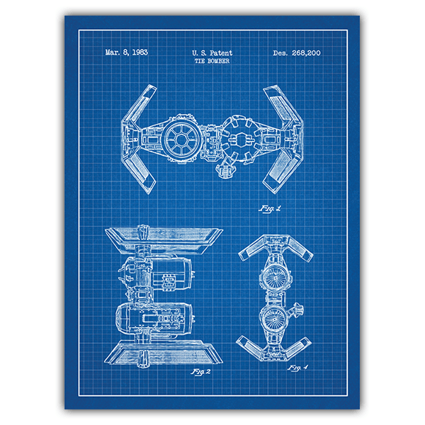 Wall Stickers: TIE Bomber blue patent