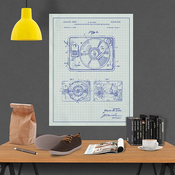 Wall Stickers: White patent record player