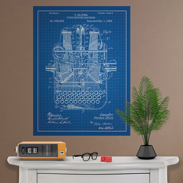 Wall Stickers: Blue patent typewriter
