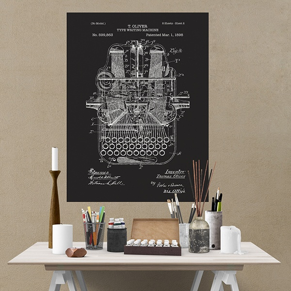 Wall Stickers: Board patent typewriter