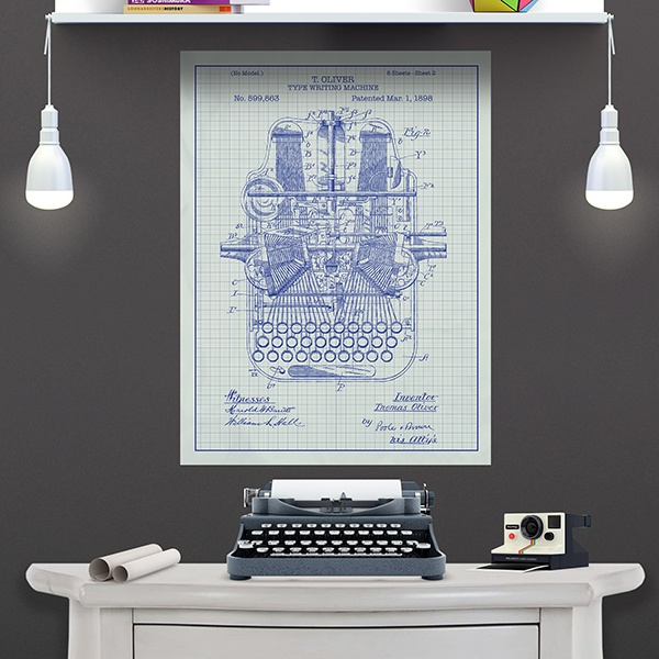 Wall Stickers: White patent typewriter