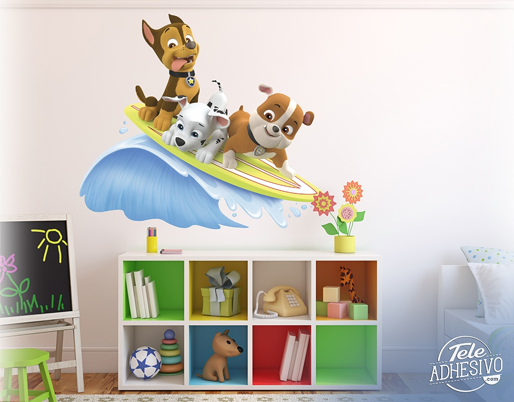 Stickers for Kids: Paw Patrol - Chase, Marshall and Rubble surf