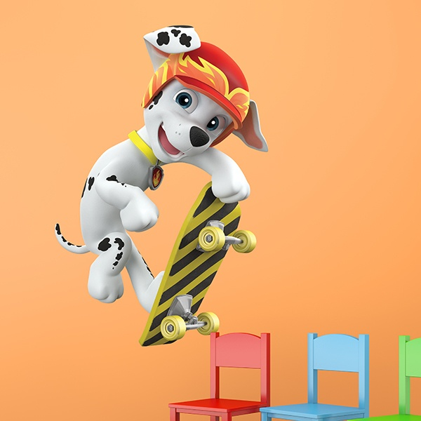 Stickers for Kids: Paw Patrol - Marshall skateboarding