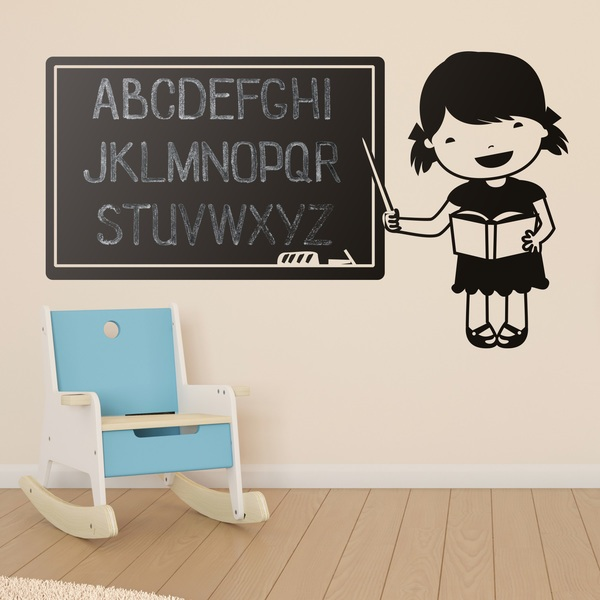 Stickers for Kids: Blackboard with the teacher