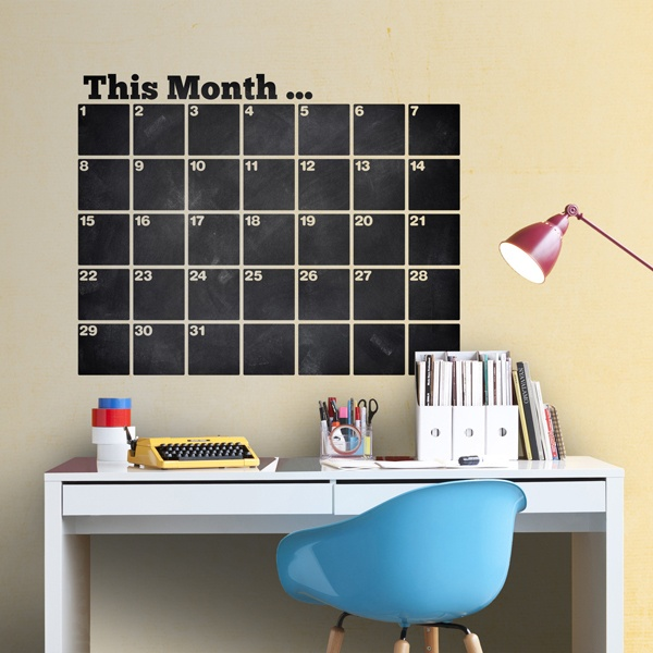Wall Stickers: Chalkboard English Organizer Calendar