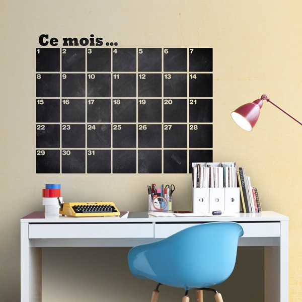 Wall Stickers: Chalkboard French Organizer Calendar