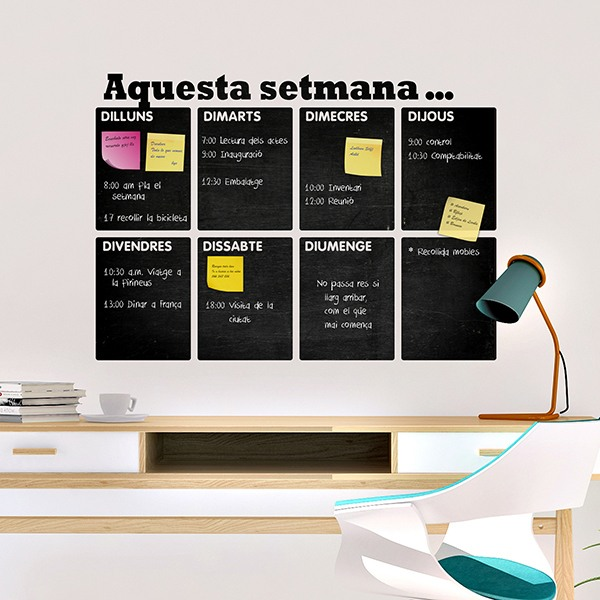 Wall Stickers: Chalkboard Catalan weekly organizer