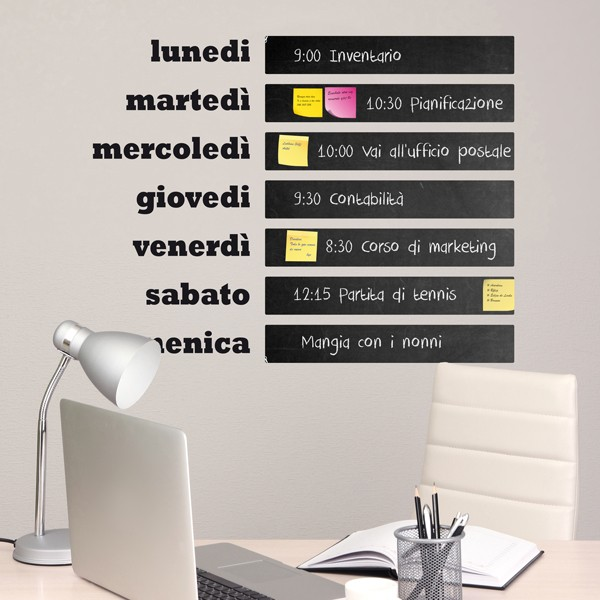 Wall Stickers: Chalkboard Weekly agenda Italian