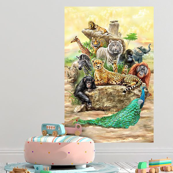 Wall Stickers: Adhesive poster Exotic animals