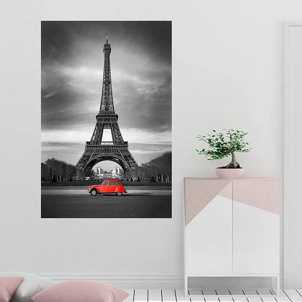 Wall Stickers: Car in front of the Eiffel Tower