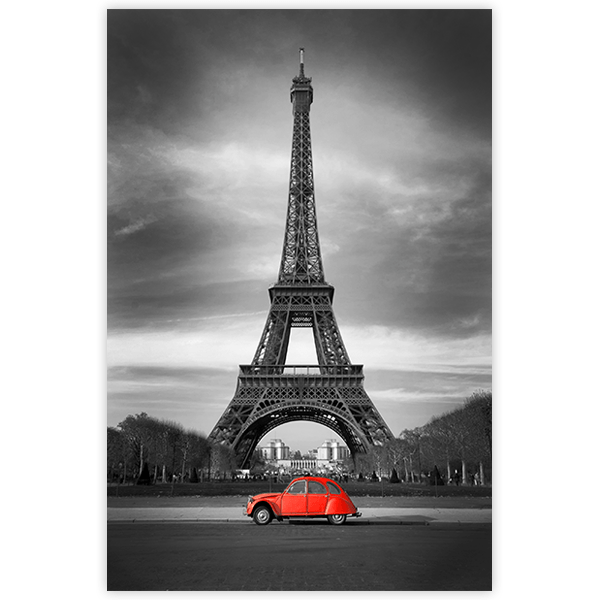Wall Stickers: Adhesive poster Car in front of the Eiffel Tower