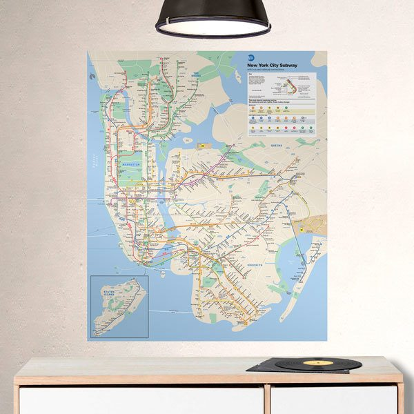 Wall Stickers: Metro New York Map Poster