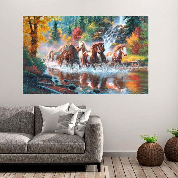 Wall Stickers: Horses by the river