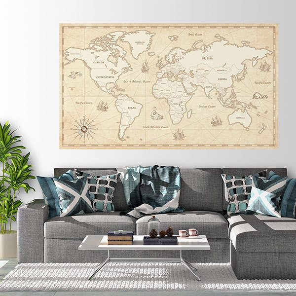 Pirate World Map.Adhesive Vinyl Poster Ancient Pirate World Map Muraldecal Com