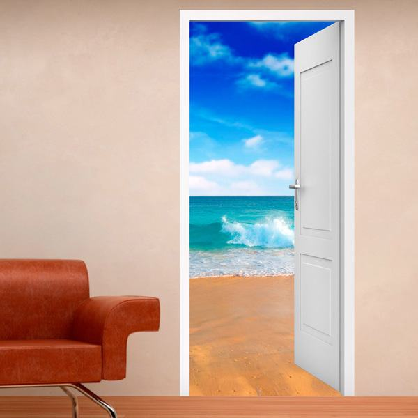 Wall Stickers: Open door beach and blue sky