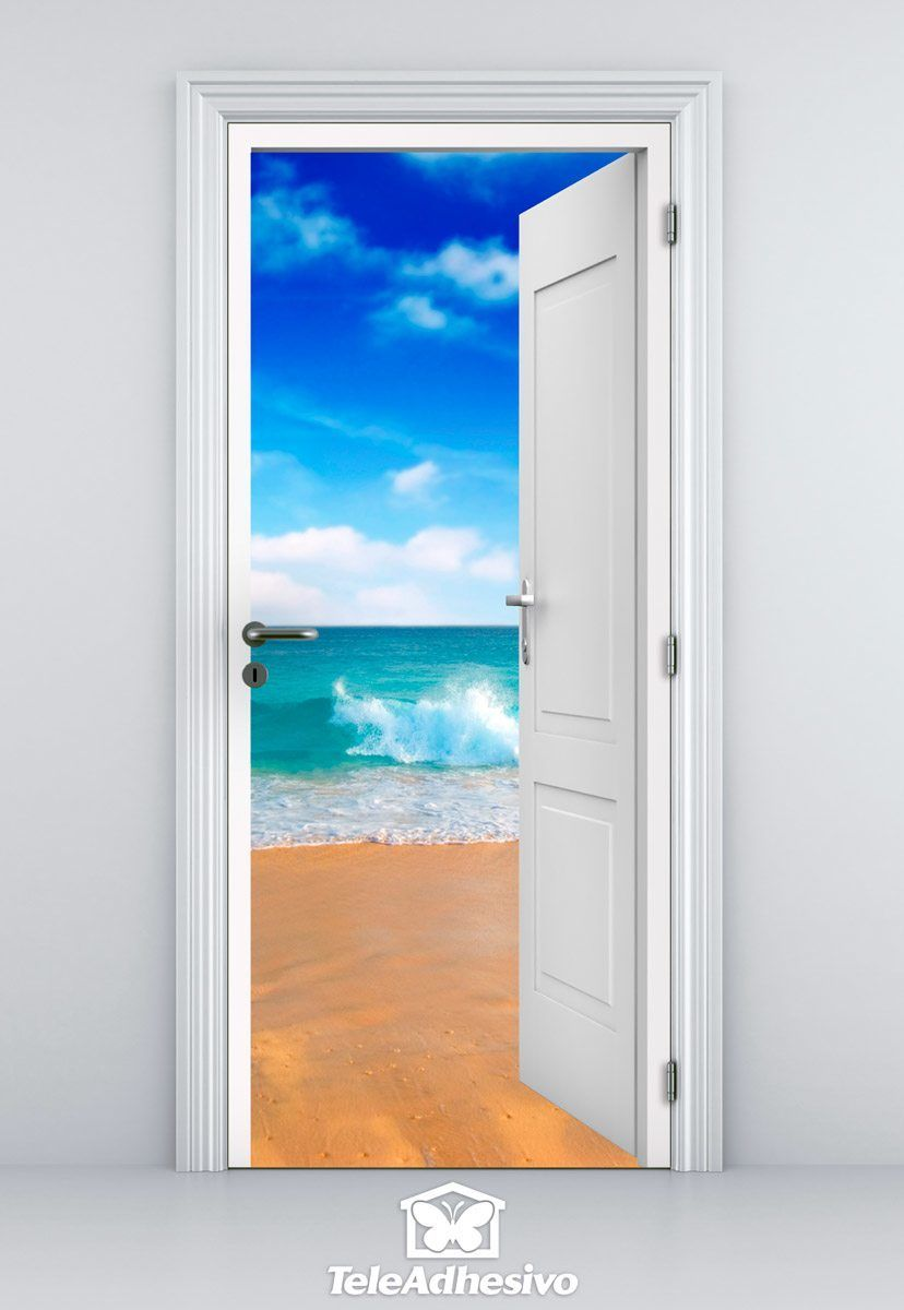 Open window beach - Wall Stickers Open Door Beach And Blue Sky