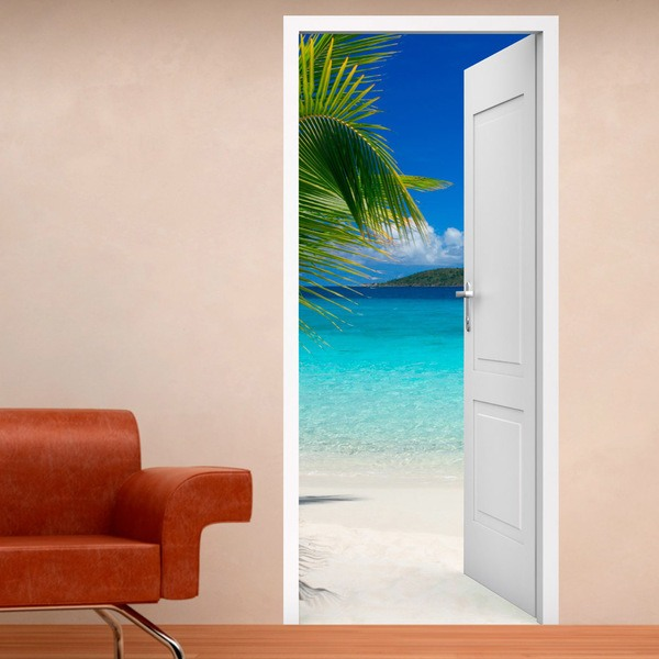 Wall Stickers: Open door palm and beach