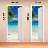 Wall Stickers: Open door beach and palm tree 4