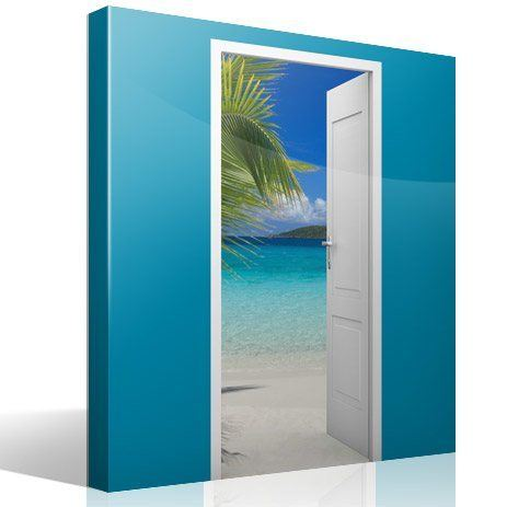 Wall Stickers: Open door beach and palm tree