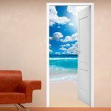 Wall Stickers: Open door beach and sky with clouds 3