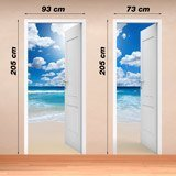 Wall Stickers: Open door beach and sky with clouds 4