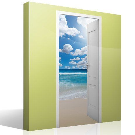 Wall Stickers: Open door beach and sky with clouds