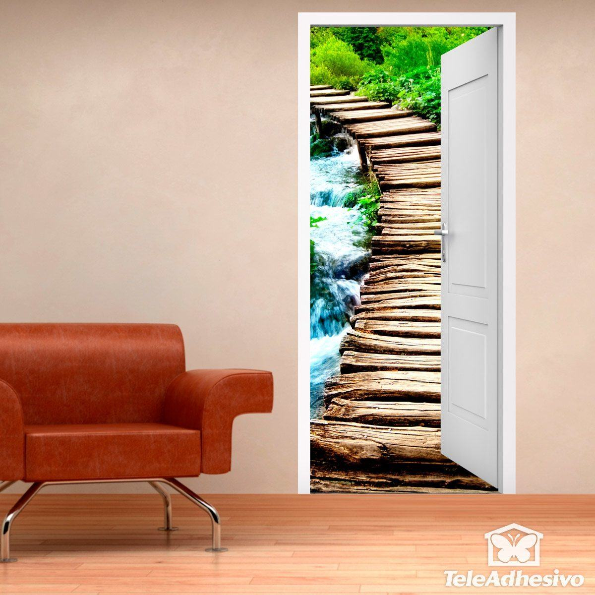 Wall Stickers: Open door wooden bridge