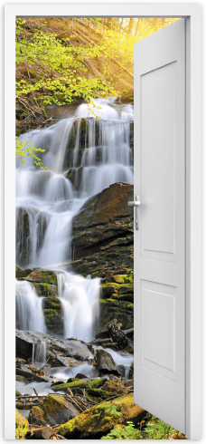 Wall Murals: Open door waterfall