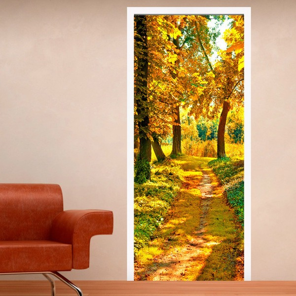 Wall Stickers: Door path in a forest in autumn