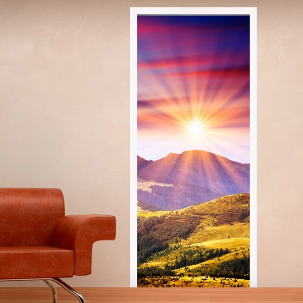 Wall Stickers: Door mountain and sunset