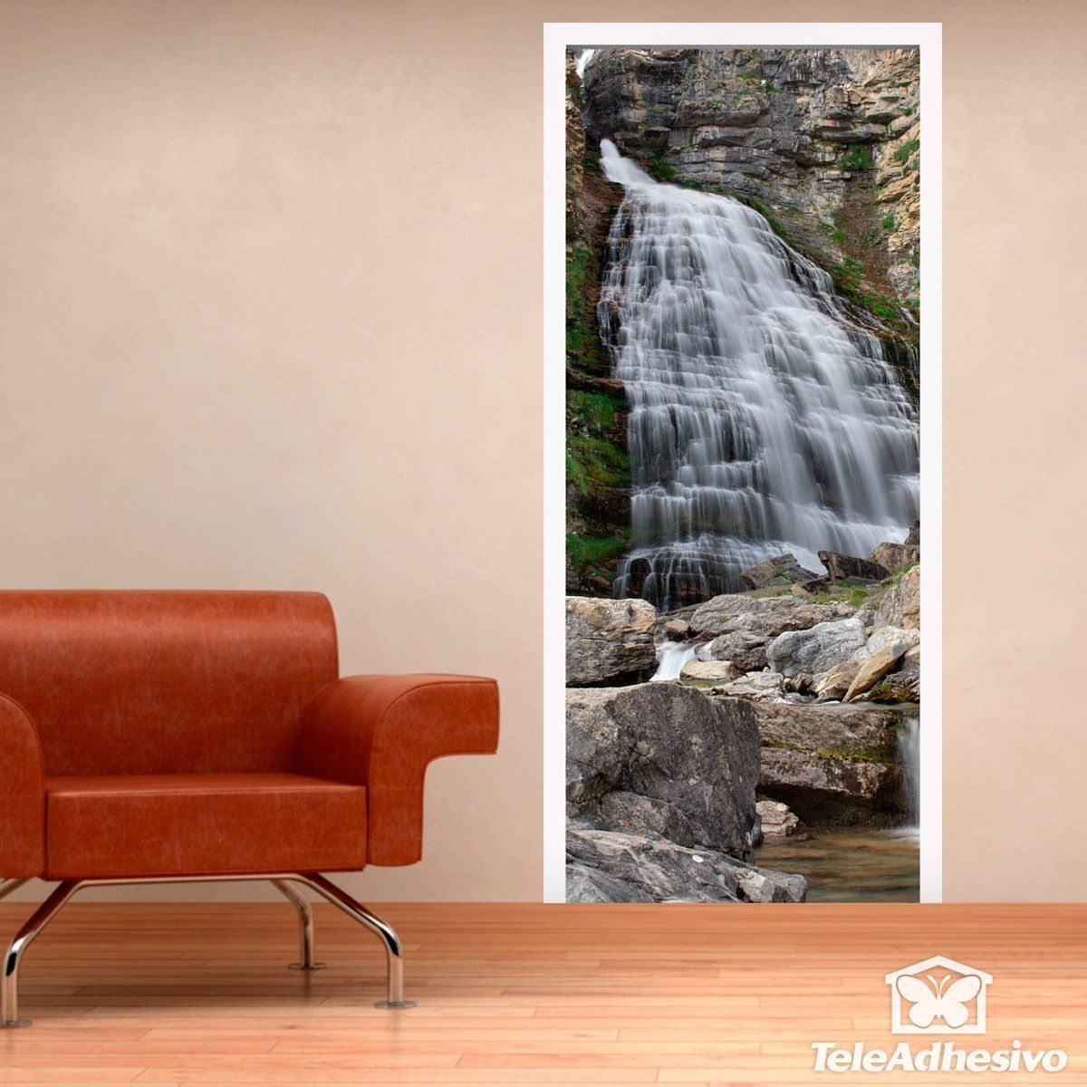 Wall Stickers: Door waterfall and stones