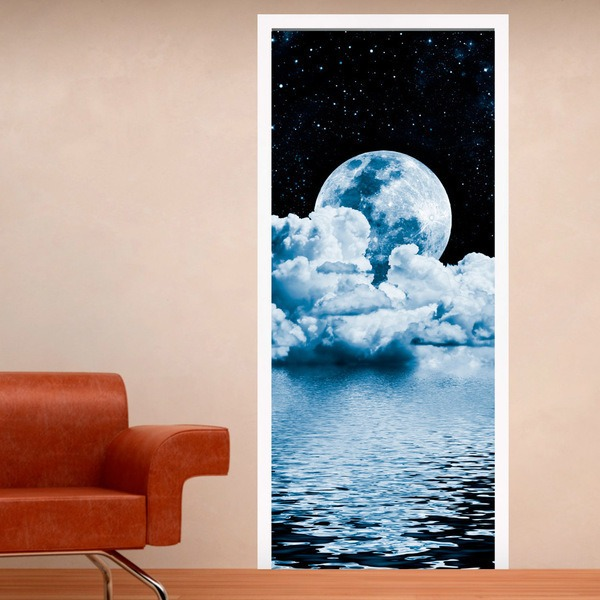 Wall Stickers: Door Moon Over Sea