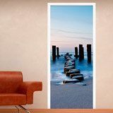 Wall Stickers: Door log bridge on the beach 3