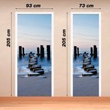 Wall Stickers: Door log bridge on the beach 4