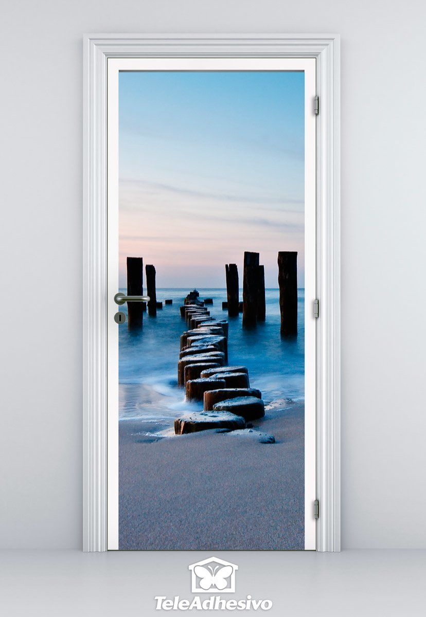 Wall Stickers: Door log bridge on the beach