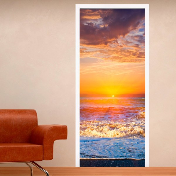 Wall Stickers: Door sunset on the beach