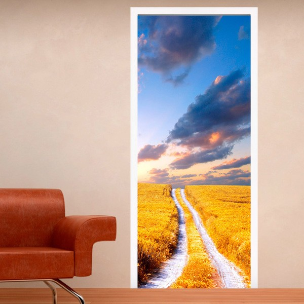 Wall Stickers: Door road and wheat field