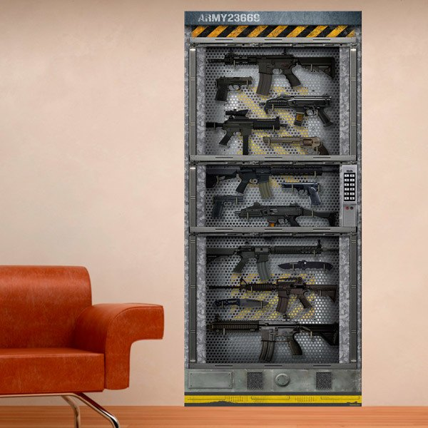Wall Stickers Sci Fi Door themed wall Armory & Vinyl Door Wrap Stickers | MuralDecal.com