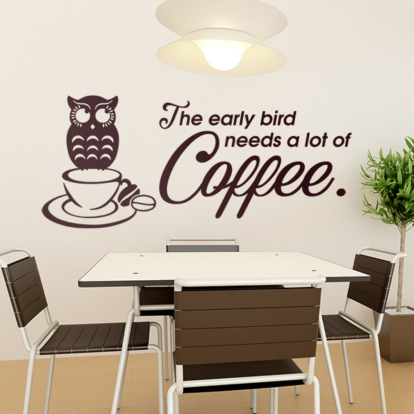 Wall Stickers: A good coffee helps an early riser