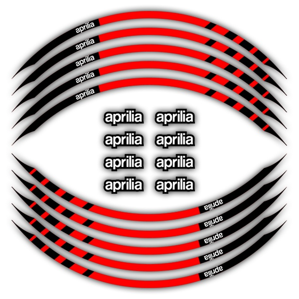 Car & Motorbike Stickers: Kit rim stripes sticker Aprilia red and black