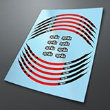 Car & Motorbike Stickers: Kit rim stripes sticker Aprilia red and black 3
