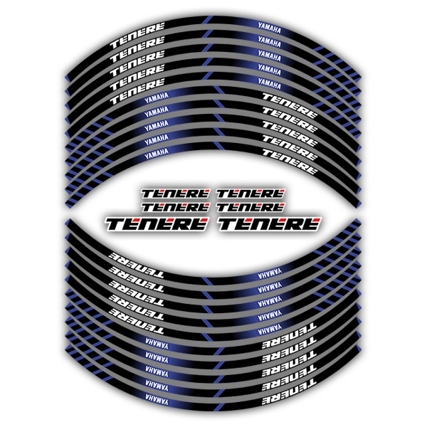 Car & Motorbike Stickers: Kit rim stripes sticker Yamaha Tenere
